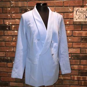 Lane Bryant double breasted light blue blazer